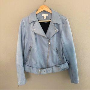H&M Faux Suede Biker Jacket - Light Blue - 12